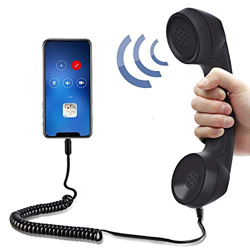 Koicaxy Cell Phone Handset,Retro Telephone Handset Anti Radiation Receivers 3.5MM for iPhone iPad,Mobile Phones,Computer Black
