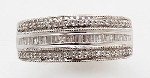 - Sterling Silver Diamond 3 Row Band Ring (1/2 cttw), Size 7