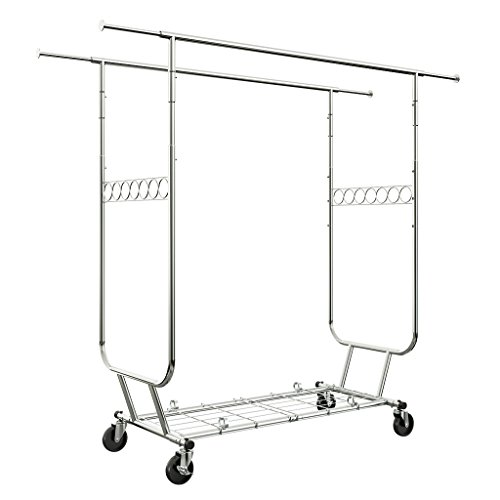 LANGRIA Heavy Duty Rolling Commercial Double Rail Clothing Garment Rack with Wheels Expandable Rods Collapsible Clothes Rack Max Load Capacity 287 lbs. for Bedroom Dressing Room Store ()