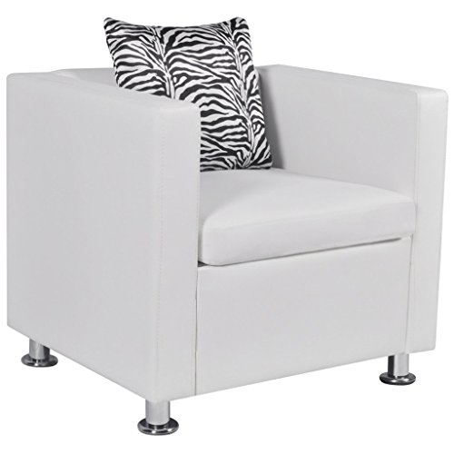 (Festnight Leather Cube Armchair Single Sofa Chair with Thick Cushion and Pillow Armrest Tub Barrel Club Seat Chair Living Room Home Office Reception (White))