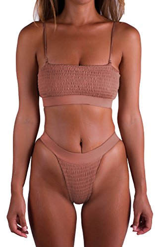 PinkWind Ruched Bikini Set Thong Brazilian Two Piece Bikini Swimsuit for Women(Pink XL)