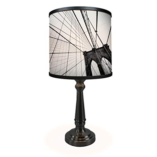 Corinthian Table Base - Brooklyn Bridge Table Lamp - Museum Quality Art Print Illuminated on Shade