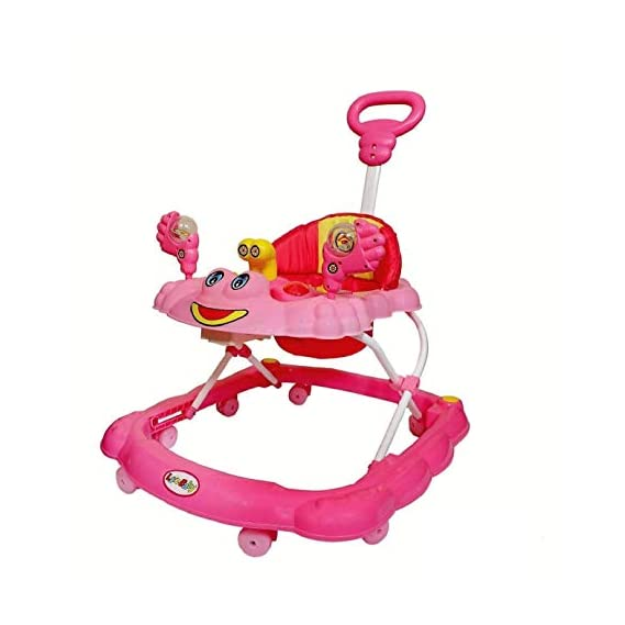 Joyride Musical Baby Walker with Adjustable Height,Music, Light and Push Handle Bar (Pink)