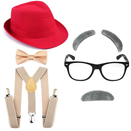 Old Gangster Hats (1920's Boys Fedora Gangster Hat,Suspenders w/Pre-Tied Bow Tie, Old Man Eyebrows,Moustache,Nerd Fake Glasses (OneSize, Red Hat & Khaki)