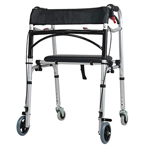 Walkers Brake Aluminum Double Handrails Wheel Elderly Disabled Walking Auxiliary Four-Legged Cane Rehabilitation 60cm61cm80cm MUMUJIN