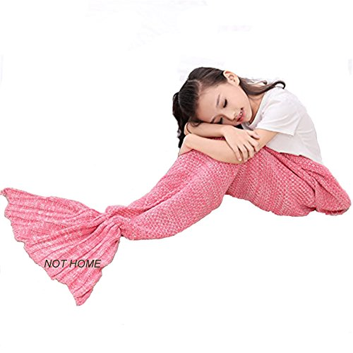 Crochet Mermaid Tail Blanket , Christmas Handmade Mermaid Knitted Blanket for Kids, Girls and Adults, Summer Super Soft Sleeping Bags (Red)