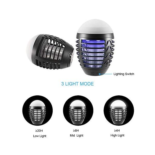 ZOTO Lampada Antizanzare, Zanzariera Elettrica con Batteria Ricaricabile USB 2200mAh, IP66 Impermeabile Lanterna Zanzare… 3 spesavip