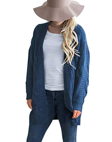 (Omoone Womens Long Sleeve Open Loose Cable Knit Solid Sweater Cardigan Outerwear(0002,DenimBlue,XS))