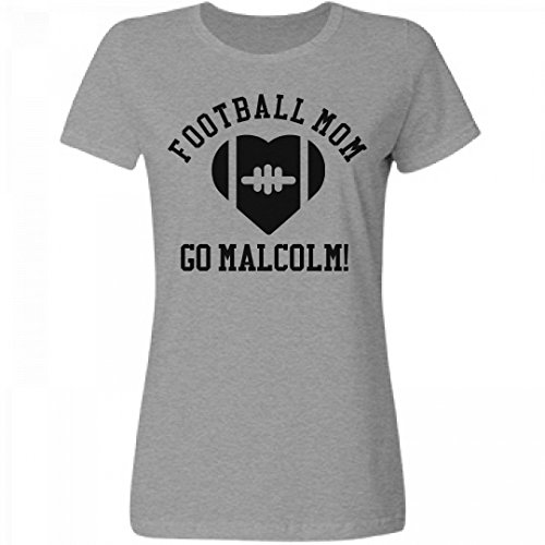Football Mom Heart Go Malcolm!: Misses Relaxed Fruit of the Loom T-Shirt