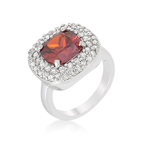 Micropave Red Bridal Cocktail Ring Size 9 from Icon Bijoux