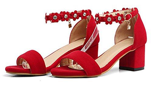 Classique Femme Fleurs Avec Strass Aisun Cheville Bride Rouge Sandales 5T4Fw