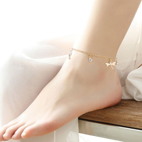 (Diansts(TM) Sexy Women Gold Chain Ankle Anklet Bracelet dragonfly Sandal Beach Foot Jewelry)