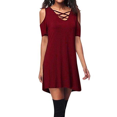 Trim Criss Cross Dress (Sinwo Women Casual Loose Dress Cold Shoulder Short Sleeve Criss Cross T-Shirt Dress With Pocket (XL, Red))