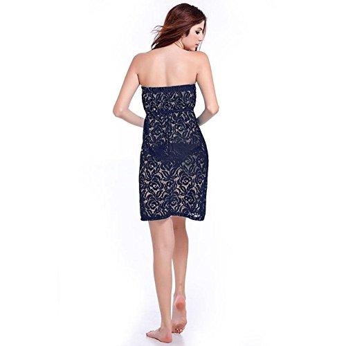 SHISHANG falda de la playa de las mujeres de Europa y los Estados Unidos fue el verano delgada vestido nuevo sujetador de encaje fresca multicolor Black