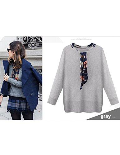 MODETREND Mujer Sueter con Bufanda Otoño Invierno Prendas de Punto Manga Larga Pullover Rebecas Jerseys Sweater Camisas Gris