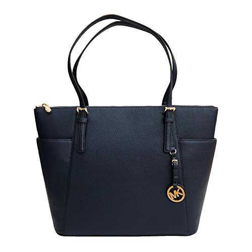 East West Lined Tote - Michael Kors Jet Set Item Large East West Top Zip Leather Tote (Navy)