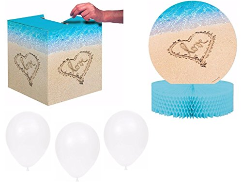 Beach Love Bridal Shower / Wedding Decoration Party Kit Includes Card Box, Centerpiece and Balloons (Beach Wedding Centerpieces)