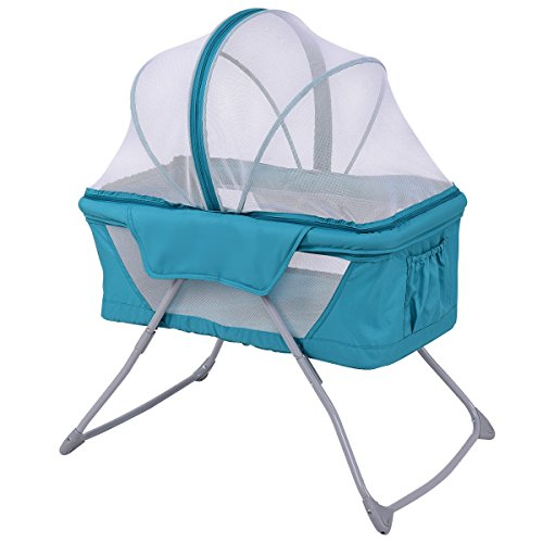 Costzon Baby Bassinet, Lightweight Foldable Rocking Bed with Mosquito Net & Carrying Bag (Green) (Folding Travel Bassinet)