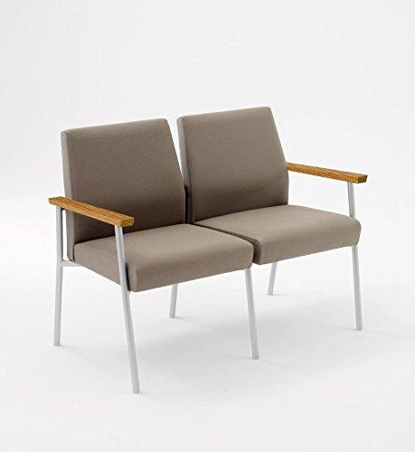 Lesro Mystic 2 Seat Guest Chair with Medium Oak Wood Armrests, Black Frame, Core Burst Fabric (Oak Lesro Arm Chairs)
