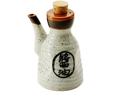 Traditional Japanese Tenmoku Pottery Soy Sauce Shoyu Dispenser With Cork Top Stopper 7oz Handcrafted in Japan (Black)