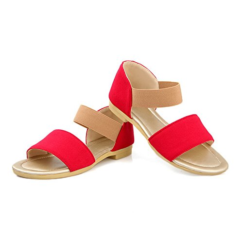 VogueZone009 Womens Open Toe Low Heel Frosted PU Solid Sandals Red PHdA3