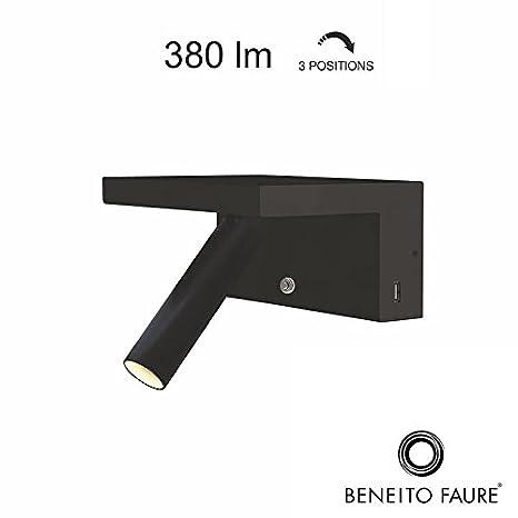 beneito Faure Beam 230 V LED 5 W 2700 K LM Dimmer 2 X USB lámpara de pared regulable Negro: Amazon.es: Iluminación