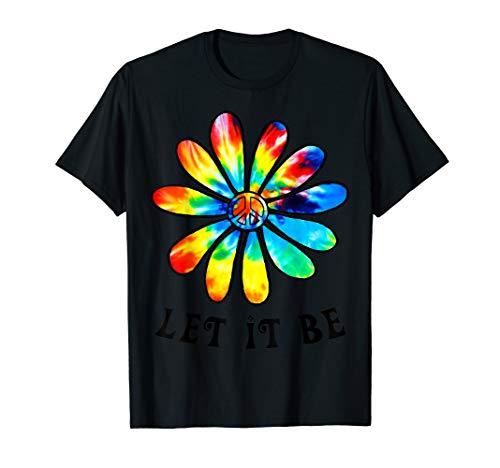 Let It Be Peace Hippie Flower T-Shirt]()