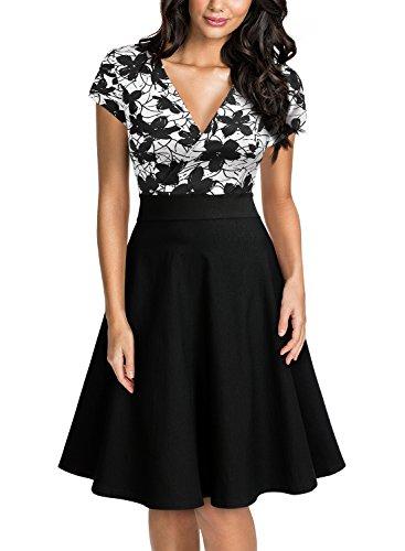 Miusol Women's Deep V-Neck Elegant Floral Lace Contrast Cocktail Party Dress (Medium, White&Black)