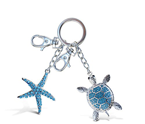 Starfish Collection Key Chain - Puzzled Blue Sea Turtle and Turquoise Starfish Sparkling Charm Elegant Keychain