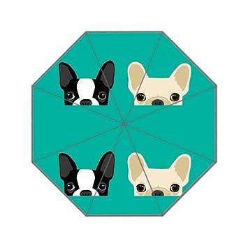Boston Terrier y Bulldog Francés impresión paraguas sol lluvia anti UV plegable paraguas a prueba de