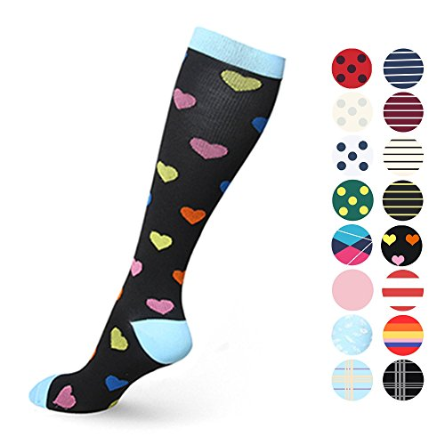 MUM'S MEMORY Graduated Compression Socks for Women and Men, Moderate Compression Stockings for Running, CrossFit, Travel Suits, Nurse, Shin Splints, 20-30 mm, Small, Medium, Heart ()
