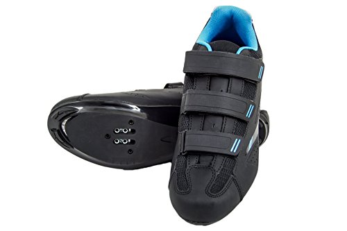Tommaso Pista Women's Road Bike Cycling Spin Shoe Dual Cleat Compatibility- Black/Blue - 40