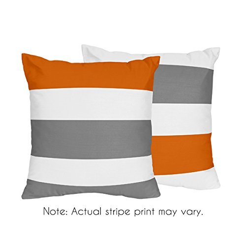 Gray, Orange and White Decorative Accent Throw Pillows for Stripe Collection – Set of 2