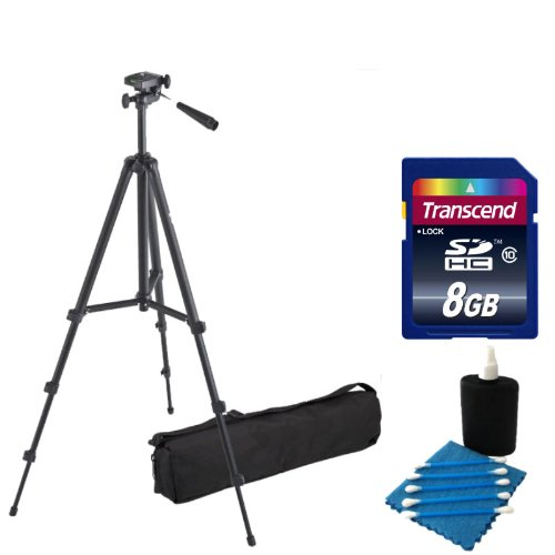 Professional 59-inch Light Weight TRIPOD FOR All Canon Sony, Nikon, Samsung, Panasonic, Olympus, Kodak, Fuji, Cameras And Camcorders With carrying case +8GB SD Memory Card Kit by PHOTO4LESS