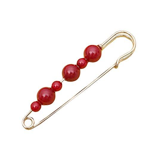 Fashion Women Jewelry Berries Red Bead Gold Brooch Safety Pin (Garnet Golden)