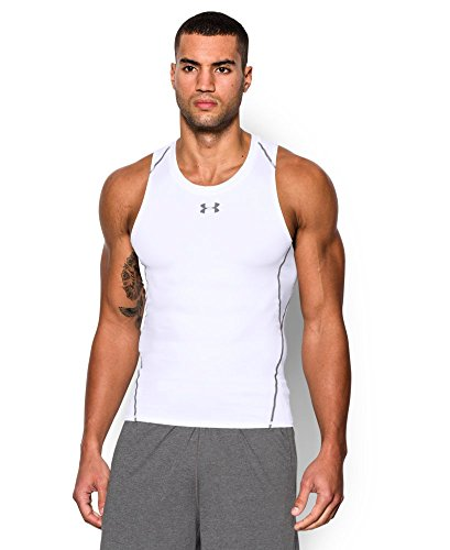 Under Armour Men's HeatGear Armour Compression Tank, White (100), Medium