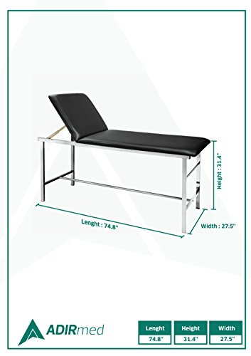 "AdirMed Reliable & Comfortable Medical Exam Table - Built In Paper Towel  Dispenser - Durable 2"" Foam Padding - Powder Coated Steel Frame -"