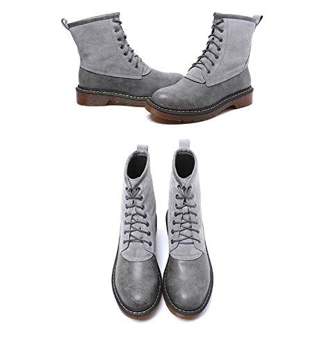 donna 42 con da scarpe stivali spazzola rotonda 34 stivali GRAY in single stivaletti pizzo marea Inghilterra Martin NSXZ di spessore donne 0qRI0Sxw