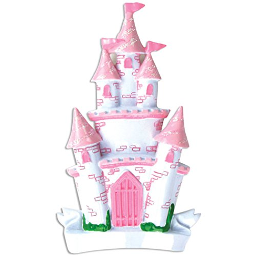 Personalized Princess Castle Christmas Tree Ornament 2019 - Beautiful Glitter Pink White Palace House Flag Fairy-Tale Cinderella Baby Girl Treasure Rhinestone Kid Toy Gift Year - Free Customization ()