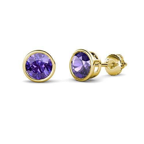 Iolite Bezel Set Solitaire Stud Earrings 1.74 cttw in 14K Yellow Gold
