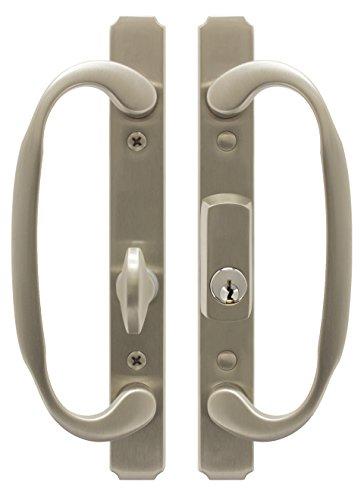 (FPL I886-K-15 Solid Brass Sliding Glass/Patio Door Handle Set, Satin Nickel, Keyed, 3-15/16