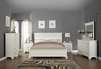 Roundhill Furniture White Bedroom Furniture Set Includes Bed Dresser Mirror 2 Night Stands and Chest, King-P