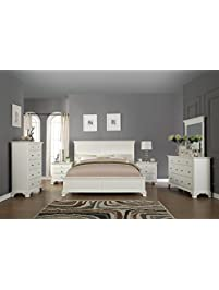 roundhill furniture white bedroom furniture set includes bed dresser mirror 2 night stands and chest