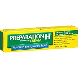 Preparation H Hemorrhoidal Cream Maximum Strength Pain Relief With Aloe Tube (0.9 Ounce, Pack of 3)