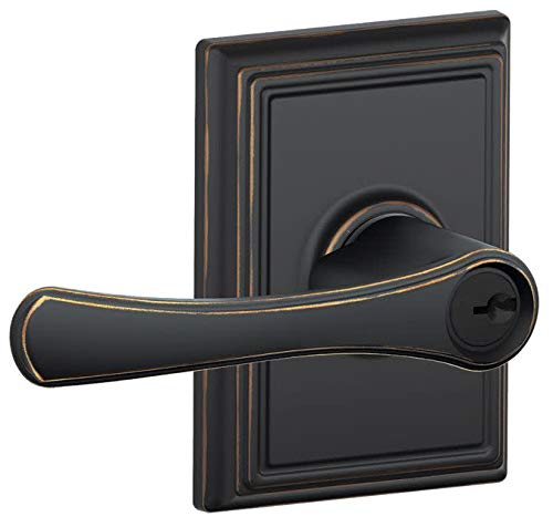 (Schlage F51 VLA 716 ADD 16-086 10-027 Addison Collection Avila Keyed Entry Lever, Aged Bronze )