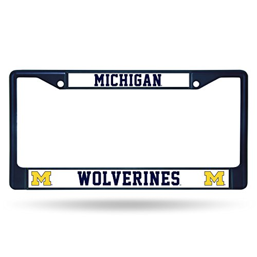NCAA Michigan Wolverines Team Colored Chrome License Plate Frame, Navy