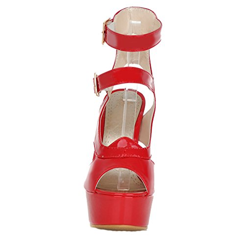 YE Women's Patent Leather Peep Toe High Heel Stilletos Buckle Sandals with 4 cm Platform Red jNbt2j