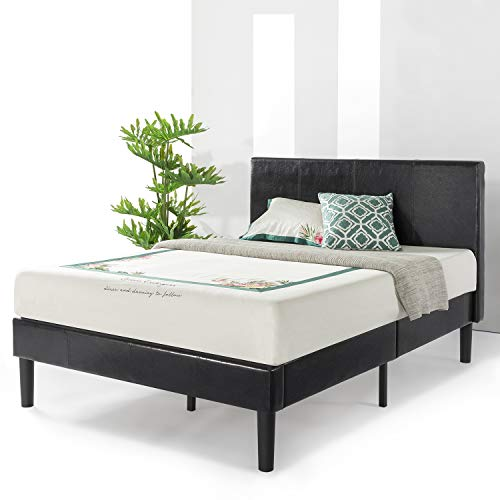 (Best Price Mattress Agra Grand Upholstered Faux Leather Platform Beds with Headboard & Wooden Slats (No (No Box Spring Needed), Queen, Black)