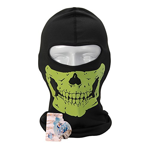 Full Face Motorcycle Bicycle Bike Skull Mask Snowmobile Hood Neck Balaclava Hat - At Wearing Night Sunglasses