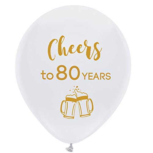 (White cheers to 80 years latex balloons, 12inch (16pcs) 80th birthday decorations party supplies for man and)